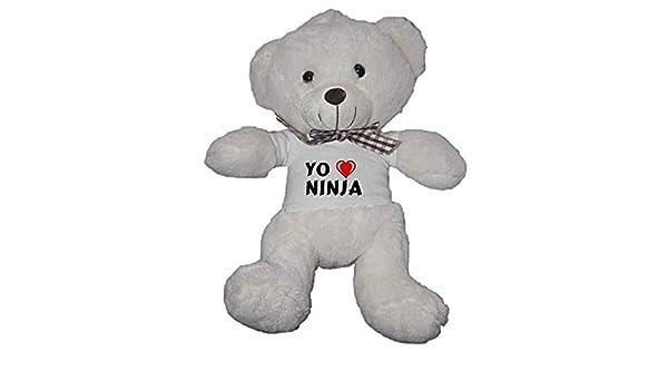 Oso blanco de peluche con Amo Ninja en la camiseta (nombre ...