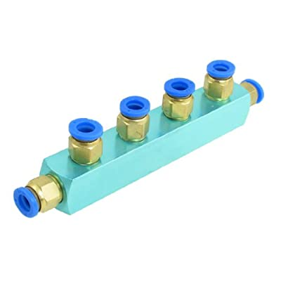 uxcell Pneumatic Air Hose Fitting 8mm 4 Way Push in Quick Coupler Light Sky Blue