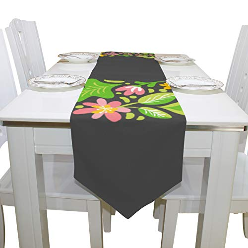 Table Linens Kawaii English Letter O Colorful Non-Slip Table Runner Farm Tablecloths for Kitchen Dining Room Decoration Home Place Mats Table Overlays 13x90 Inch -