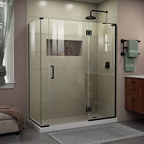 DreamLine Unidoor-X 57 in. W x 34 3 8 in. D x 72 in. H Frameless Hinged Shower Enclosure in Satin Black, E3270634R-09