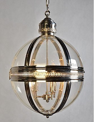 19Th C. Victorian Globe Pendant Chandelier Polished Nickel Dia 17.5