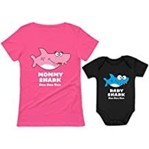 Baby Shark & Mommy Shark Doo Doo Doo T-Shirt Bodysuit Set for Mother and Baby
