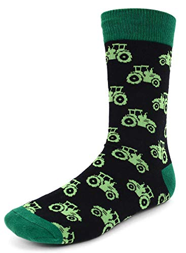 Men's Fun Crew Socks, Sock Size 10-13 / Shoe Size 6-12.5, Great Holiday/Birthday Gift (Tractor) (Best Small Tractor For Small Farm)