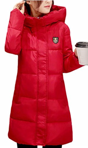 Womens Down Winter today Warm UK Red Puffer Jacket Zipper Side Hooded Long Sleeve E55qzArwSx