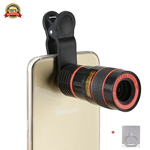 Universal Clip Camera Mobile Phone 8X Magnifier Optical Zoom Telescope Camera Lens Case Cover Kit For iOS Andronid Smart Phone Tablet ipad(8x-Black)