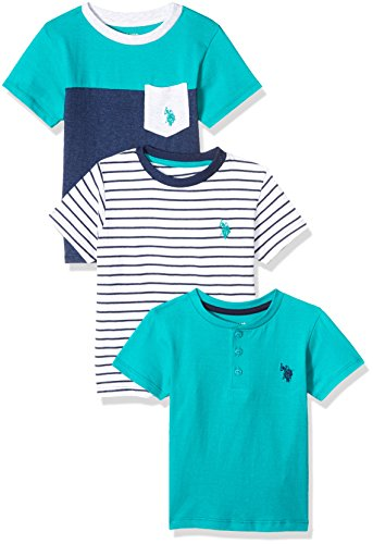 (U.S. Polo Assn.. Toddler Boys' 3 Pack Short Sleeve T-Shirt, Mixed Pack Rinse Blue Heather, 3T)