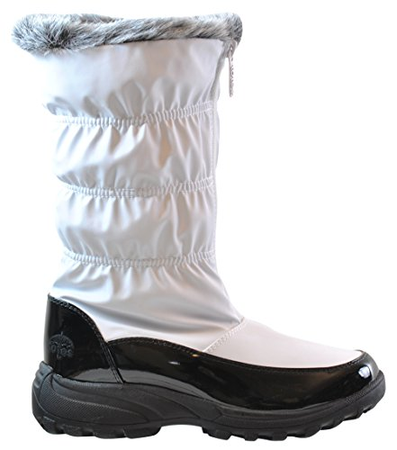 totes Women's Carmela Ruched Snow Boot, Wide Width, White, 9