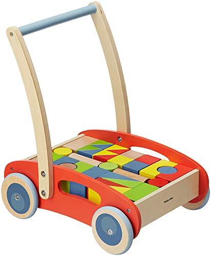 Pidoko Kids Baby Walker, Red - Wooden Push and Pull Toy - Activity Block and Roll Cart - Toddler Learning Toys for 1 Year Old, with Blocks (33 Pcs) ()