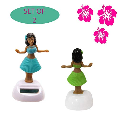 Solar Dancing Hula Girl~Blue and Pink Set of -
