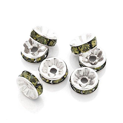 Olivine Rondelle Crystal (Ajetex 100 pcs Silver AAA-Grade Crystal Beads Rondelle Spacer Beads Olivine)