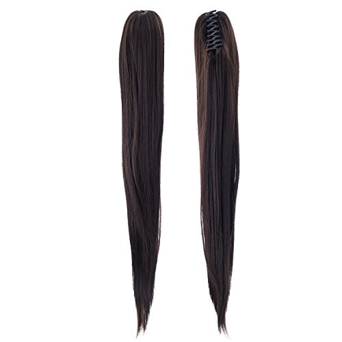 SWACC Straight Claw Clip Ponytail Extension Synthetic Clip in Ponytail Hairpiece Jaw Clip Hair Extension (Natural Color Close to (Black Long Wig With Two Braids)