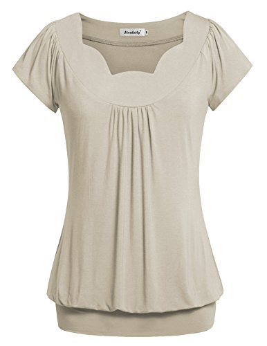 Ninedaily Tunics for Women, Summer Solid Blouse Office Apparel Daily Work T Shirt Unique Collar Fluted Cute Tops for Junior Fit and Flare Chiffon Blusa Night-out Shirts 3/4 Sleeve Beige Size XL