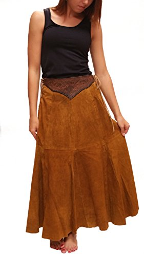 Genuine Suede Leather Skirt - Choctaw Hand Tooled Genuine Leather Suede Skirt (medium)