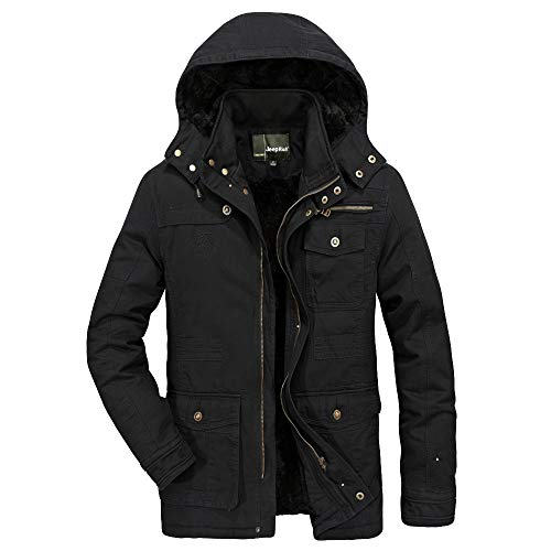 - ZEFOTIM Men's Fashion Medium Length Hoodie Thickened Plus Size Cotton Padded Jacket Coat(Large,B-Black)