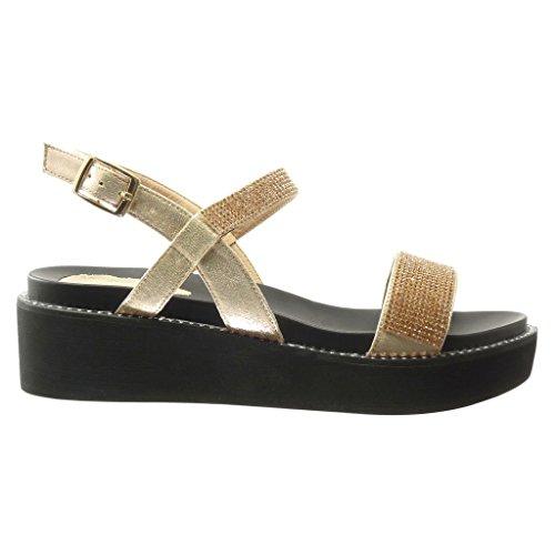 Angkorly - Chaussure Mode Sandale Mule plateforme femme lanière strass diamant Talon compensé plateforme 5 CM - Champagne