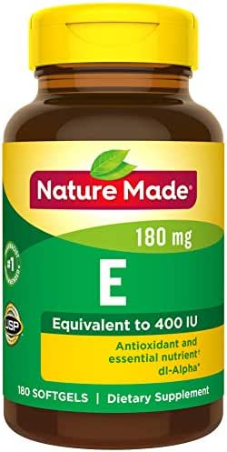 Nature Made Vitamin E 180 mg (400 IU) dl-Alpha Softgels, 180 Count for Antioxidant Support (Packaging May Vary)