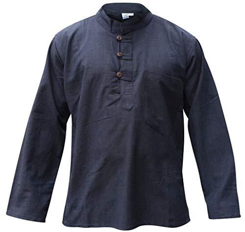 Mens Plain Hemp Collarless Grandad Shirt Full Sleeved Hippie Summer Light Tops[4XL,Navy]