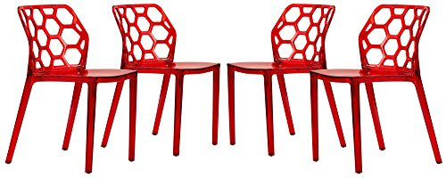 LeisureMod Modern Dynamic Acrylic Dining Chair (Set of 4), Transparent Red ()