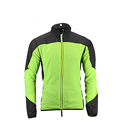 Reflective Breathable Bike Bicycle Cycling Wind Coat Windcoat Windproof Quick Dry Jersey Jacket,Green Black,XL (Soft Shell Schoeller)