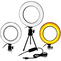 Kit Luminária Ring Light 16cm Usb Led Misto 3500k 5500k + Tripe