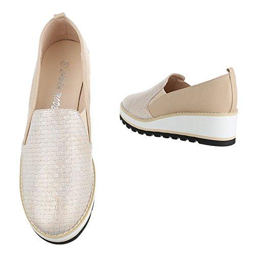 Ital-Design Slipper Damenschuhe Low-Top Wedge Stretch Halbschuhe Beige Gold
