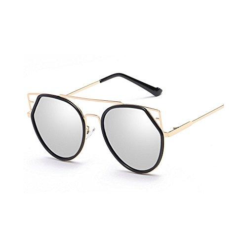 Gafas gato hombres y de sol viajar montura Lente para ribeteadas Gafas unisex sol de UV de Personalidad Retro Ojos de Conducción metálica Protección Gafas sol con colorida Plata sol Para Gafas de mujeres qwnF8tnIz1