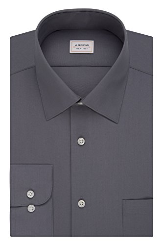 Arrow Men's Poplin Athletic Fit Solid Spread Collar Dress Shirt, Meteor, 18-18.5