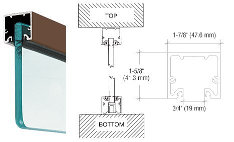 CRL Dark Anodized Wide U-Channel With Top Load Roll-In Glazing Gasket for 3/8'' and 1/2'' Glass - 240'' by C.R. Laurence