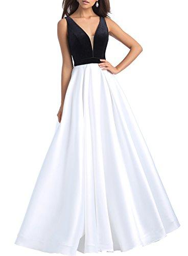 Beauté Velours Femmes Mariée Robes De Bal De Bal V Cou Satin Robes De Soirée 2018 De Blanc S054