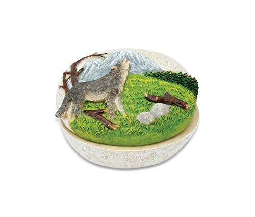 Puzzled Howling Mountain Wolf Small Stone Resin Jewelry & Accessories Organizer Keepsake Box, 3.25