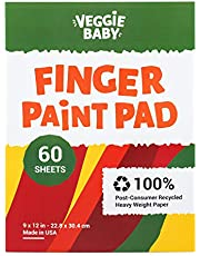 Veggie Baby Art Paper Pad for Finger Painting, Drawing and Coloring, 60 Sheets, Kid's and Toddler's Multimedia Paint Use, Unwaxed Heavy Stock for Crayons and Projects