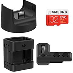 Osmo pocket controller wheel × 1 Osmo pocket wireless module × 1 Osmo pocket accessory mount × 1 32GB Samsung microSD card × 1
