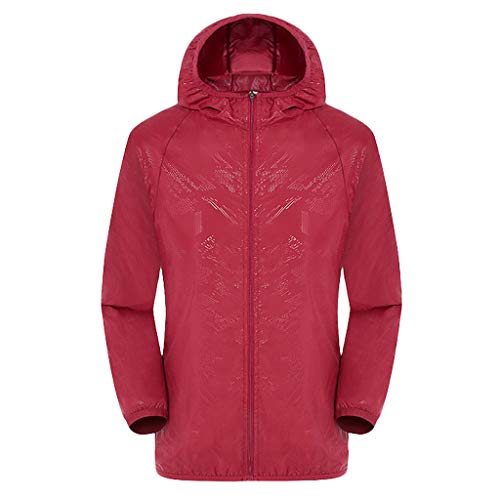 Tantisy ♣↭♣ Lightweight Raincoat Waterproof Packable Rainwear Outdoor Windproof Hooded Active Rain Jacket Unisex Available Red