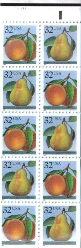 1995 PEACH & PEAR #2488a Booklet Pane of 10 x 32 cents US Postage -