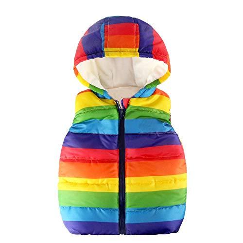 ance Sales,Baby Boys Toddler Kids Rainbow Print Vests Coats Fleece Inside Vest Jacket with Hood ()