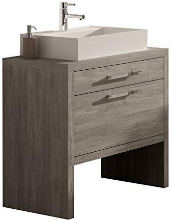 Montreal 24 Inch Bathroom Vanity Cabinet Set Joplin Oak Thermo Laminated Finish Vessel Sink Countertop Made In Spain European Brand Disassemble Amazon Com
