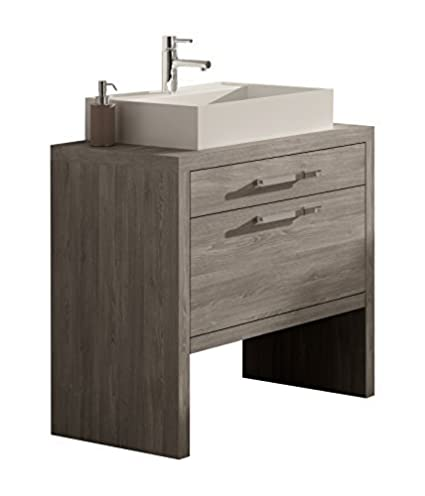 Montreal 24 Inch Bathroom Vanity Cabinet Set Joplin Oak Thermo Laminated Finish Vessel Sink Countertop Made In Spain European Brand