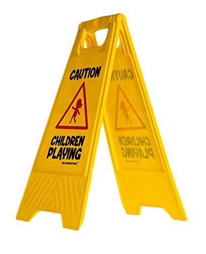 Children Playing Caution Sign for Yards and Driveways (Double-Sided) -