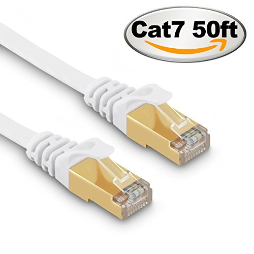 Cat 7 Ethernet Cable 50 ft White - Fastest Cat7 Flat Ethernet Patch Cables 10GB with Gold Plated RJ45 Connectors - Internet Network Cable for Modem Router LAN Computer Xbox (Best Router For Steam Streaming)