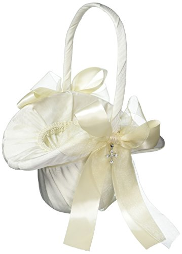 Beverly Clark Collection Grace, Flower Girl Basket with Crystal Cross, Ivory ()