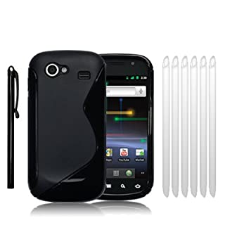 "SAMSUNG GOOGLE NEXUS S ""S"" CURVE GEL CASE - BLACK, WITH 6 SCREEN PROTECTORS & 1 STYLUS (B004IYVEBI) 