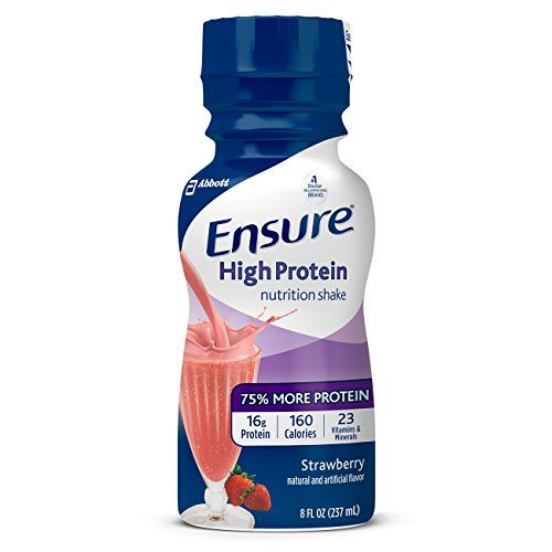 Ensure High Protein Nutrition Shake with 16 grams of high-quality protein, Meal Replacement Shakes, Low Fat, Strawberry, 8 fl oz, 24 count (Protein Shake Nutrition)