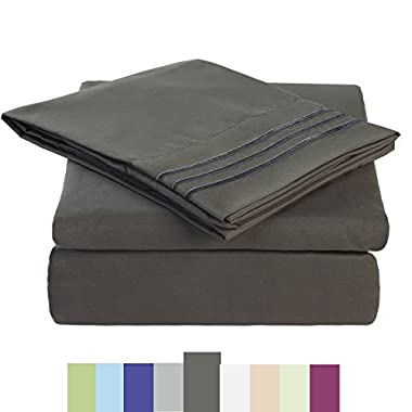 Maevis Bed Sheet Set-1800 Double Brushed Microfiber Bedding - Deep Pocket- Wrinkle, Fade, Stain Resistant - Hypoallergenic - 4 Piece (Dark Grey, Queen)