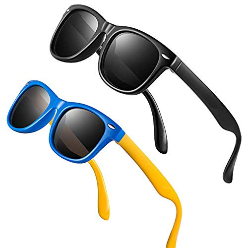 Baby Sunglasses Rubber Kids Polarized Sunglasses - FEIDU Fit Shades Glasses for Boys Girls toddler and Children Age 2-5 (blackblack/blue yellow, 60) ()