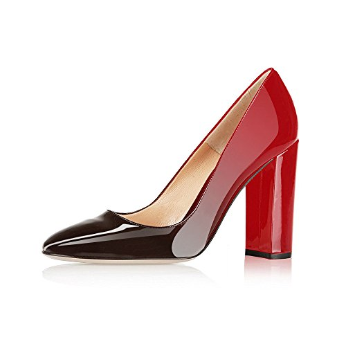 Modemoven Women's Red Black Sexy Patent Leather Round Toe Block Heels Pumps Gorgeous Evening Party Stiletto Shoes - 11.5 M (Sexy Red Patent Shoes)