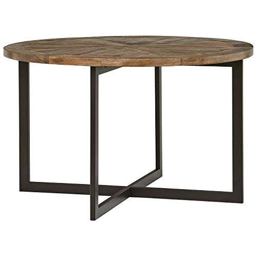 (Stone & Beam Industrial Mango Wood Round Dining Table - 48 x 48 x 30 Inches, French Onyx and Gunmetal Finish)