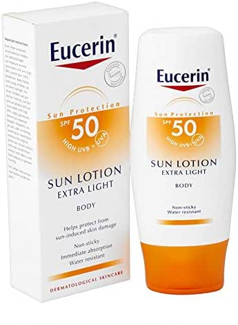 Eucerin Sun Lotion Extra Light SPF 50 150 ml High Protection with UVB+UVA body lotion Non-Sticky water resistant