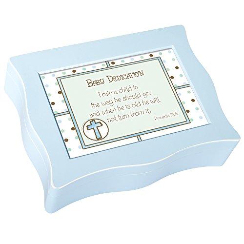 Caja de música inspirada y ondulada de Cottage Garden - Juegos de dedicación para bebés Jesús me ama con un acabado azul ondulado