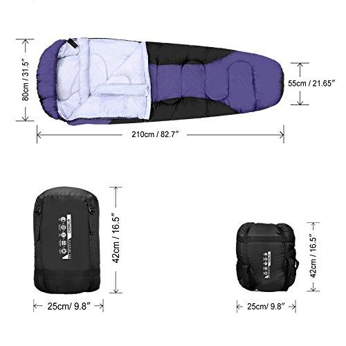 Enkeeo - Saco de dormir momia impermeable cáscara de tafetán (forro interior, algodón respirable, capucha, bolsillo, bolsa de compresión) (violeta 210 x 80 ...