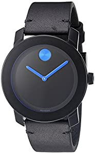 Movado Men's Swiss Quartz Stainless Steel and Leather Watch, Color: Black (Model: 3600307)